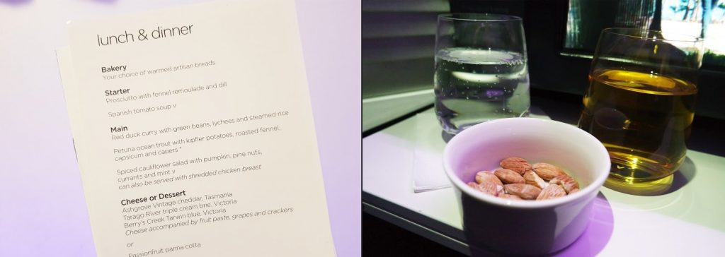 Virgin Australia Business Class a330 lunch menu