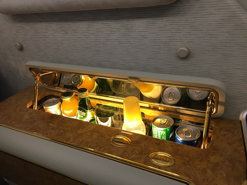 Emirates First Class Suite mini bar