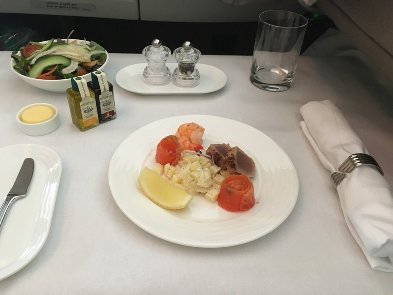 Emirates First Class Suite dining