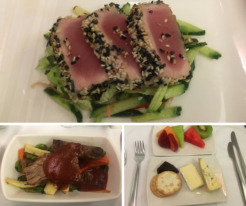 Cathay Pacific Business Class meal montage