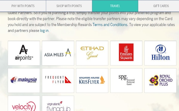 AMEX Membership Rewards points transfer to leading airlines and hotel chains.