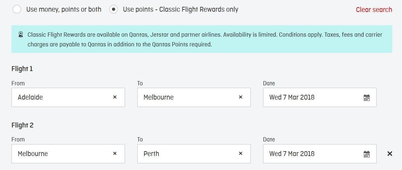 The Qantas multi-city tool