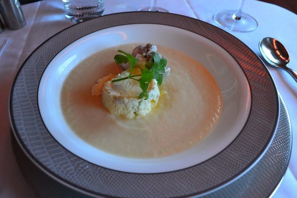 Chilled celeriac and pear cream soup