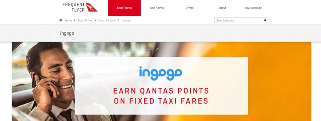 earn qantas points ingogo