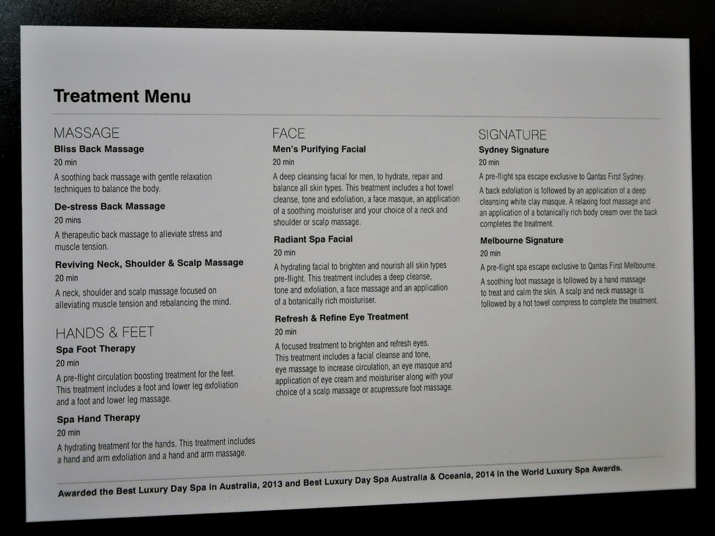 qantas first lounge treatment menu