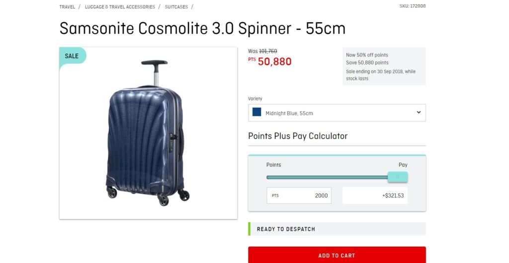 qantas store points plus pay suitcase