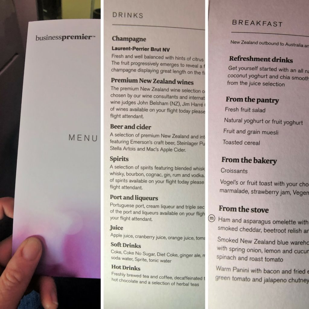 air new zealand business class menu