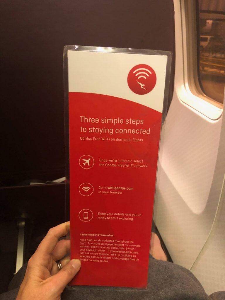 qantas wifi information card