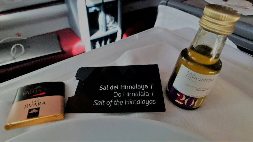 latam business class menu condiments