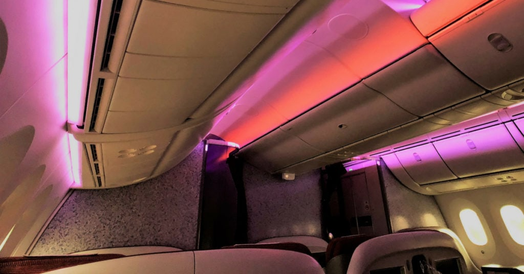 Latam business class cabin ceiling