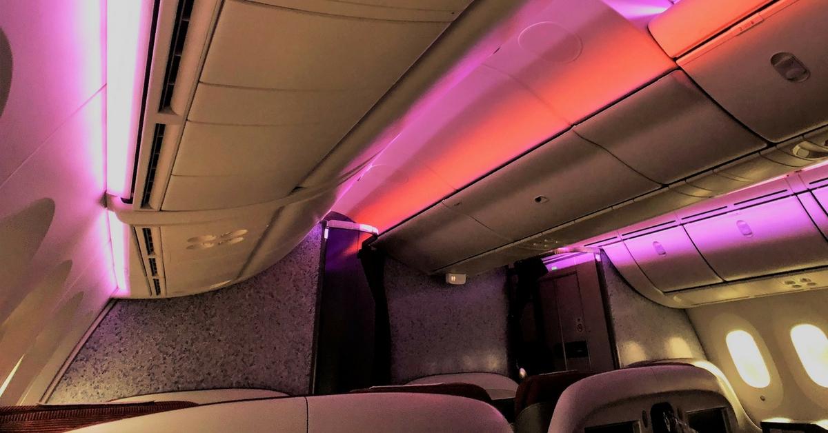Latam business class cabin ceiling
