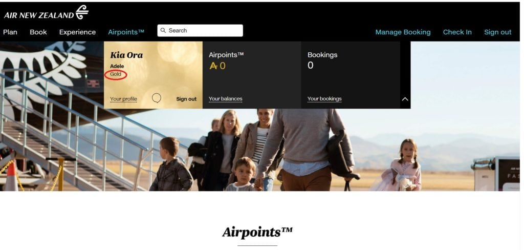 air new zealand status match gold