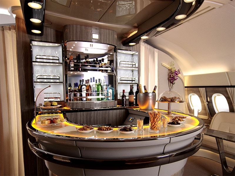 emirates a380 bar close up
