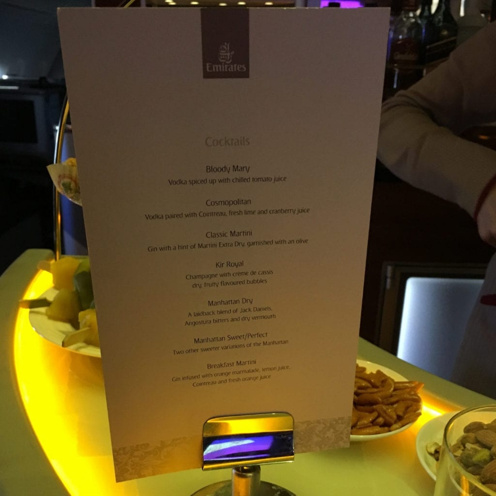 emirates a380 cocktail menu