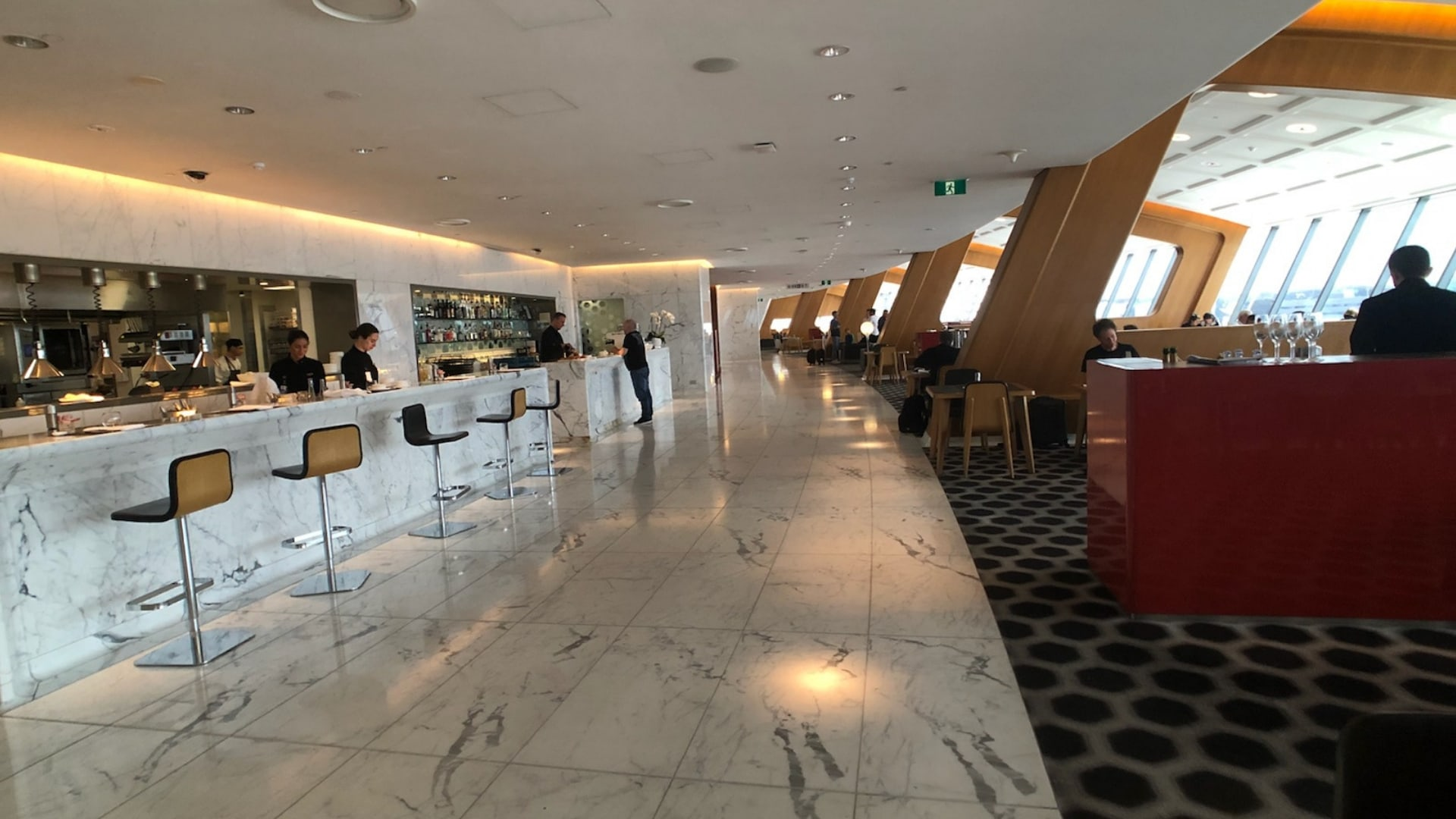 qantas first class lounge sydney bar two