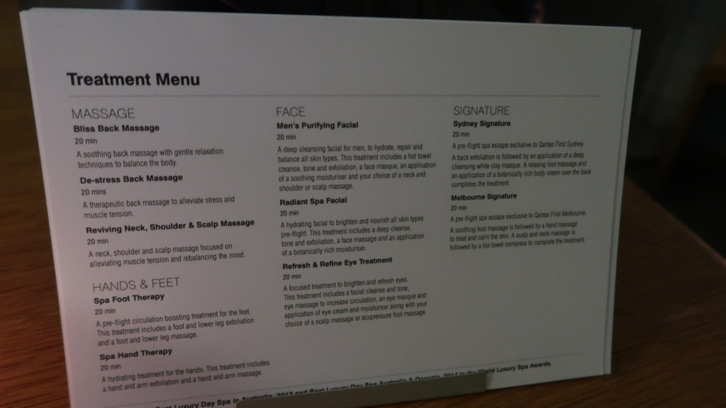 qantas first class lounge sydney spa menu