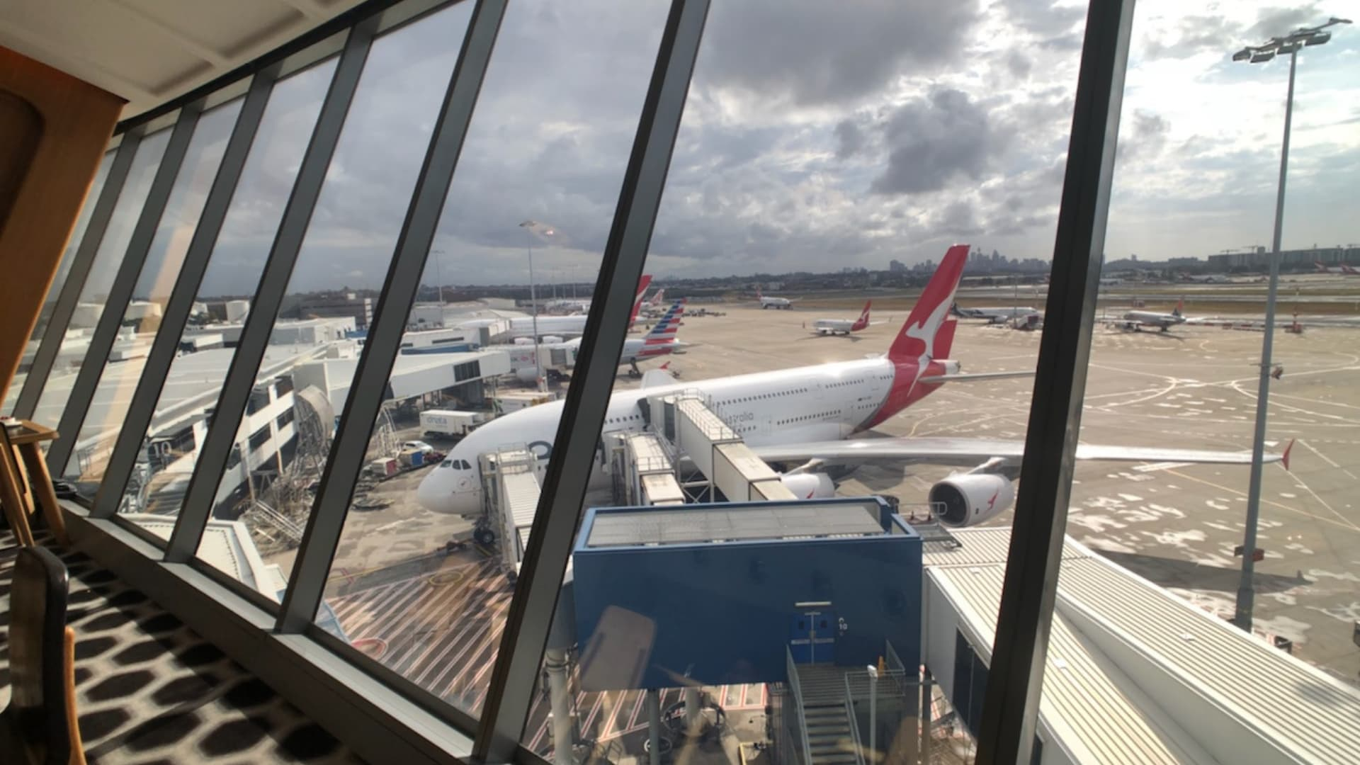 qantas first class lounge view