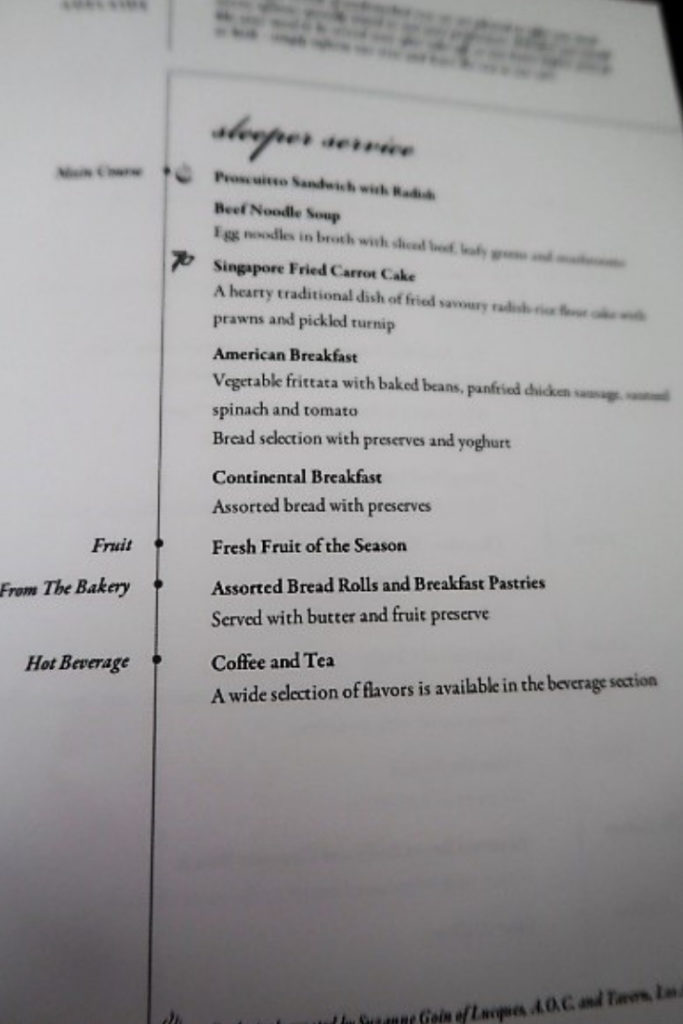 singapore airlines a330 business class menu