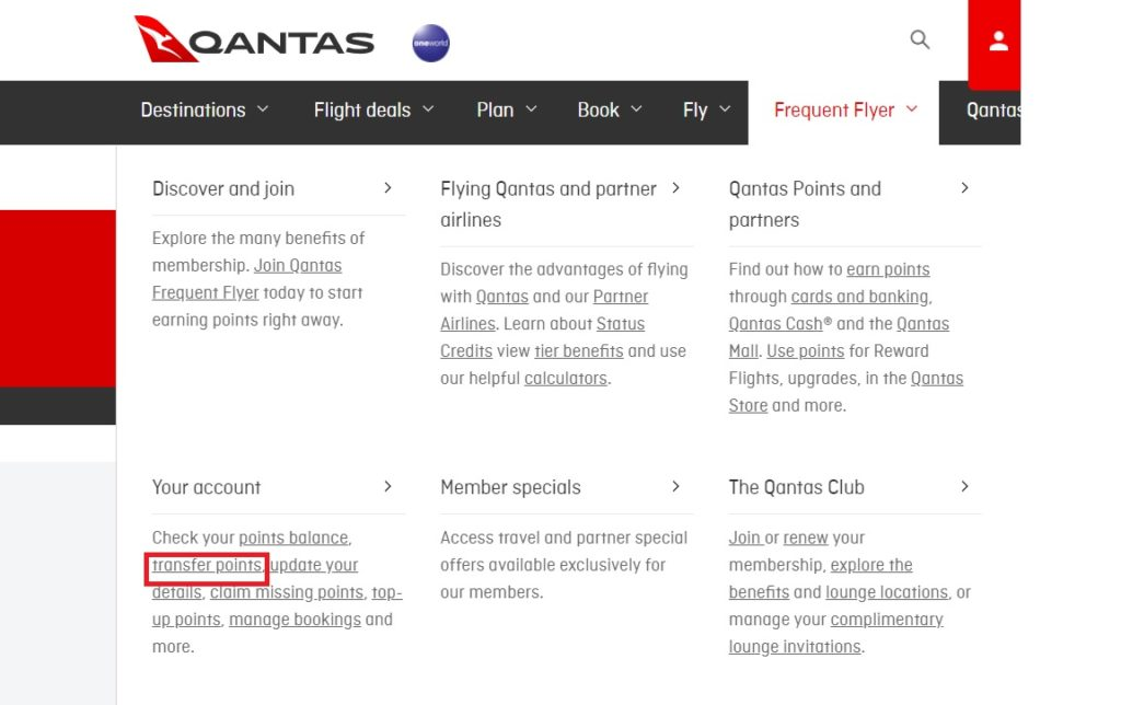 transfer qantas points one