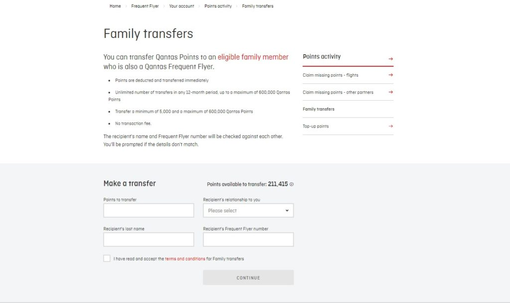 transfer qantas points three