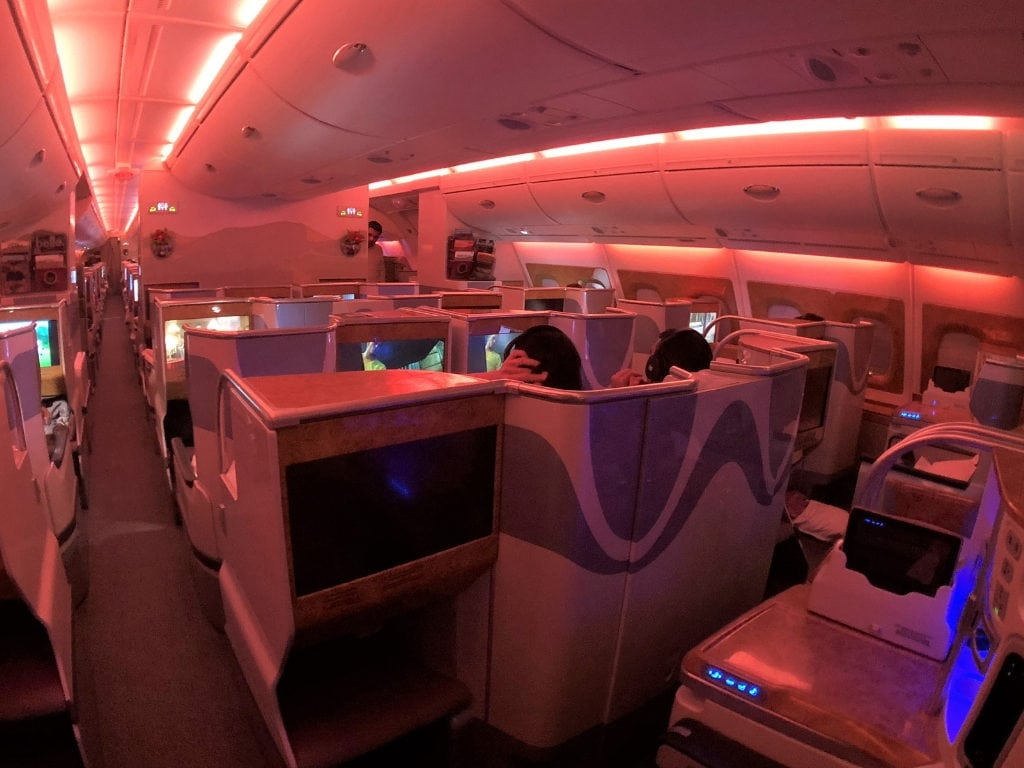 emirates business class review a380 cabin night