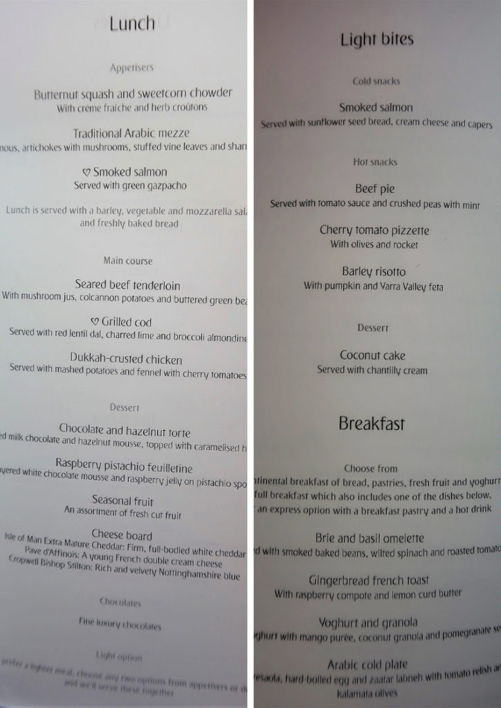 emirates business class review a380 lunch menu