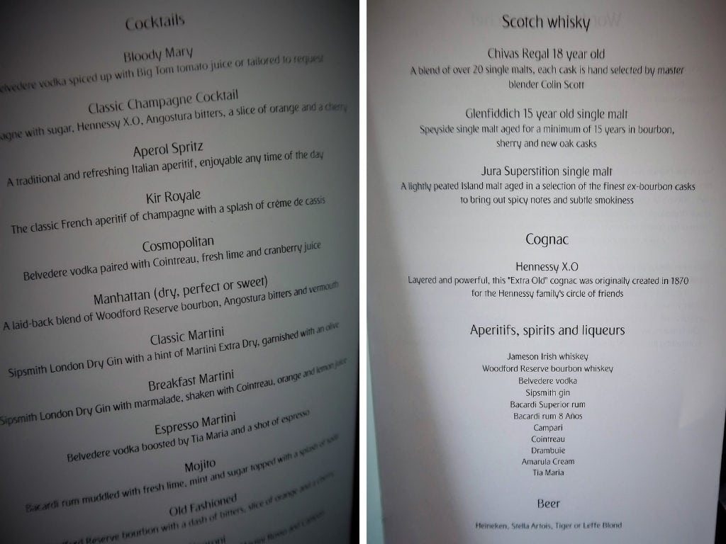 emirates business class review a380 menu cocktails spirits