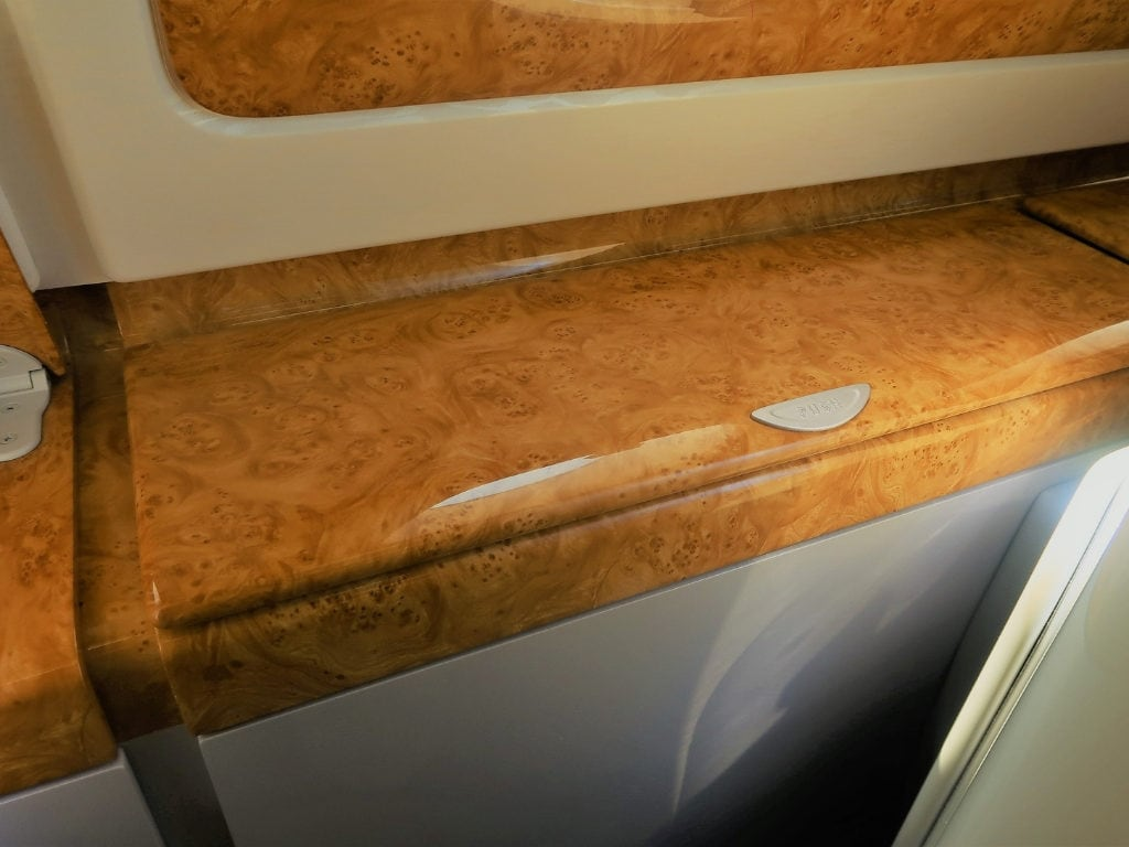 emirates business class review a380 storage bank