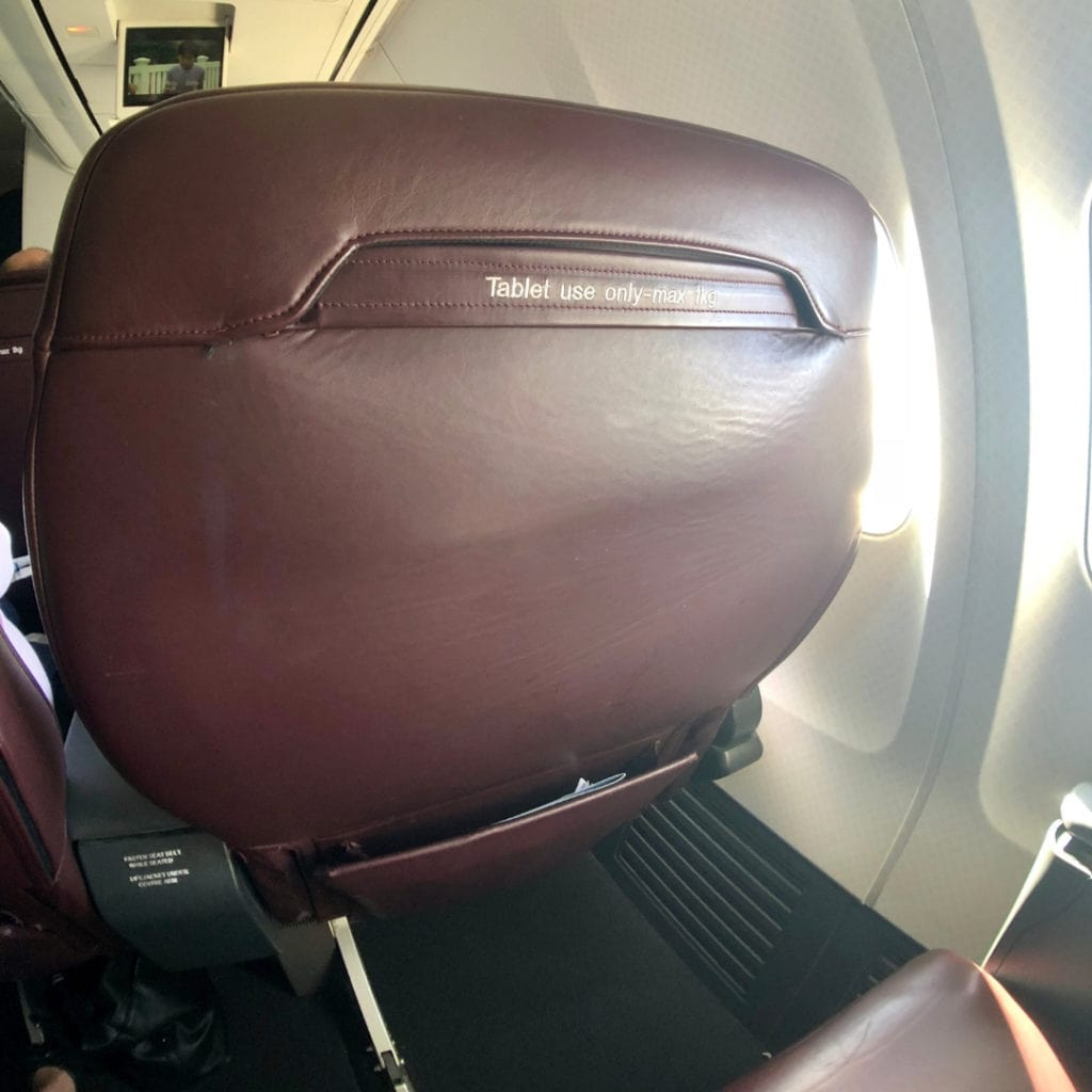qantas 737 business class review seat back pocket