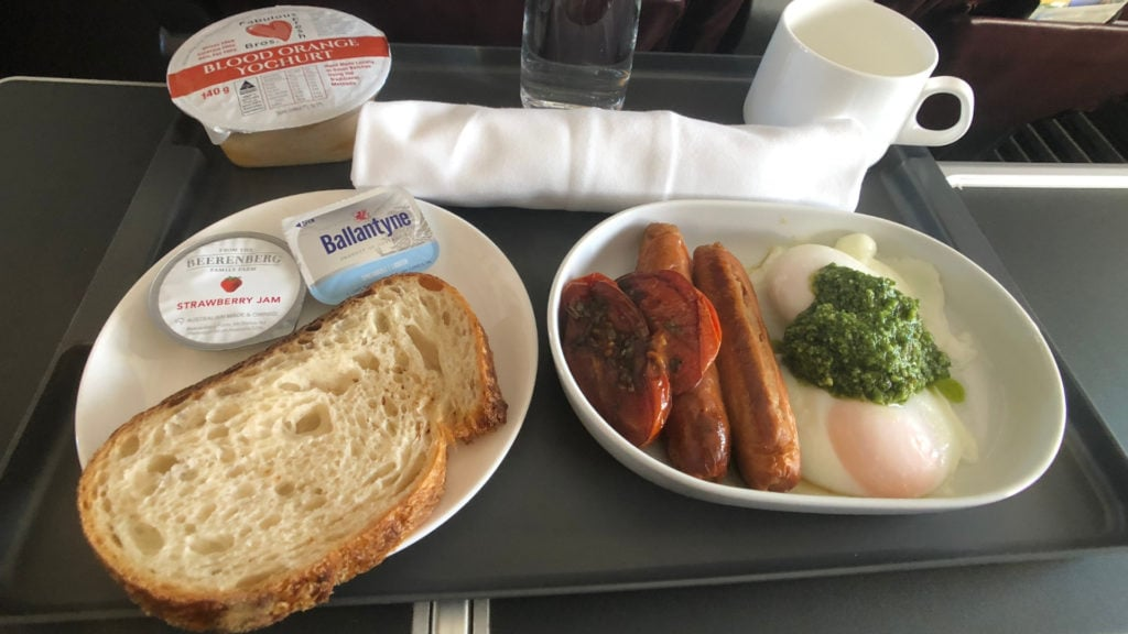 qantas 737 domestic business class review meal tray