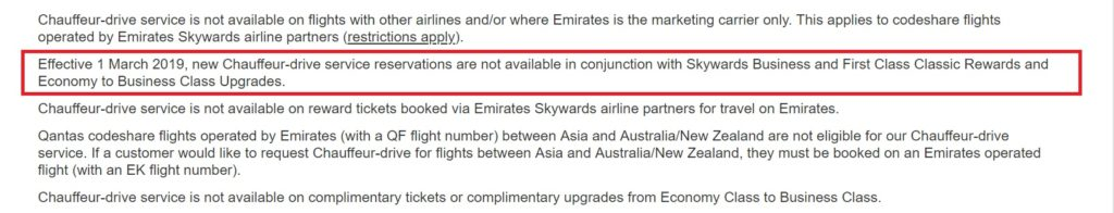 Emirates to axe Chauffeur Drive benefit for award tickets