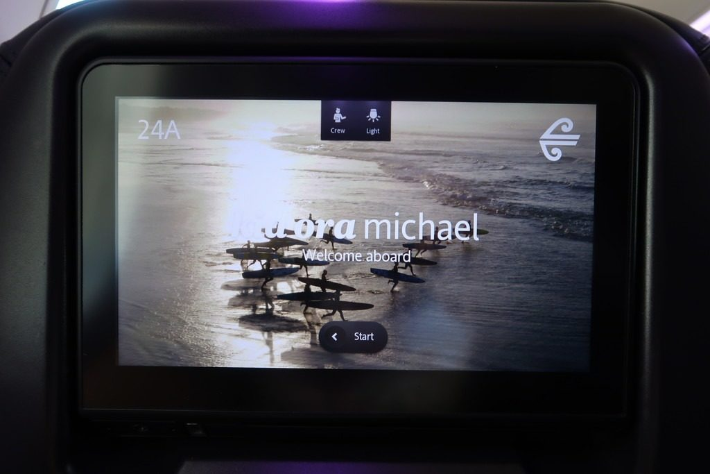 greeting screen seatback - air new zealand premium economy