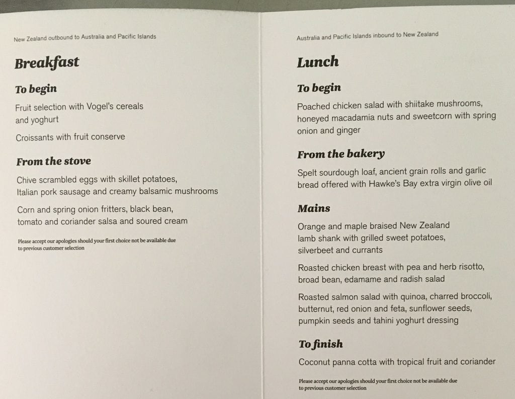 menu - air new zealand premium economy