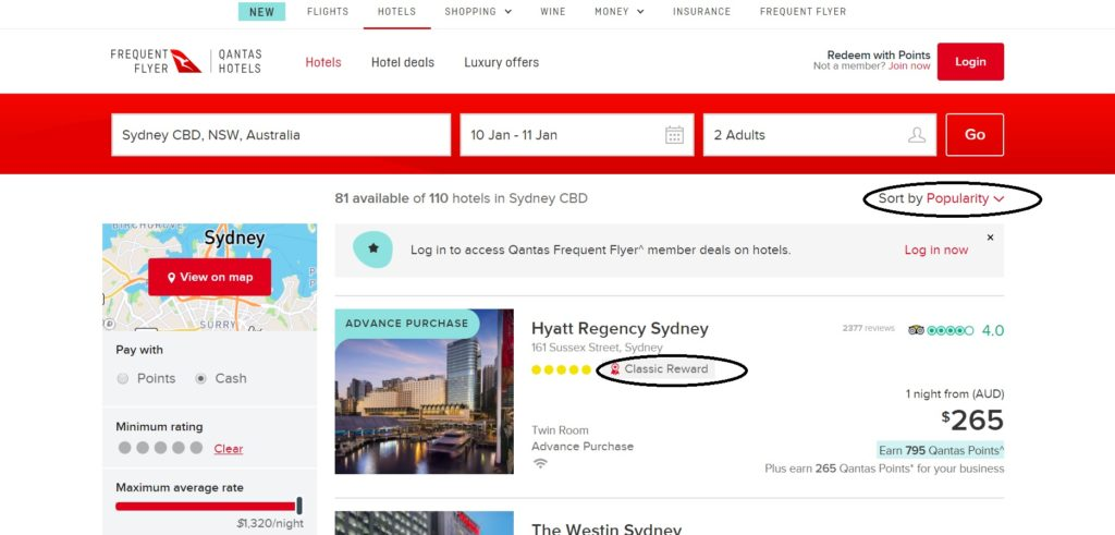 qantas hotels booking page