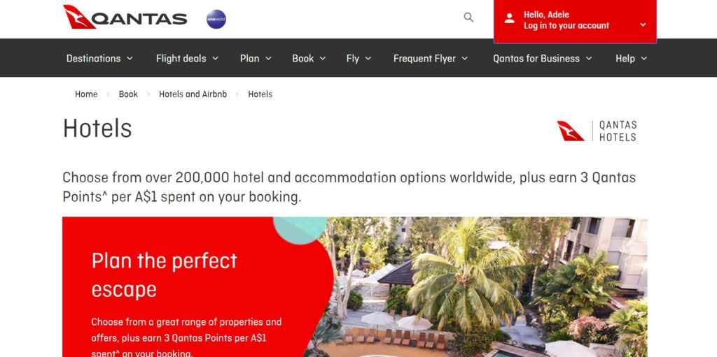 qantas hotels homepage