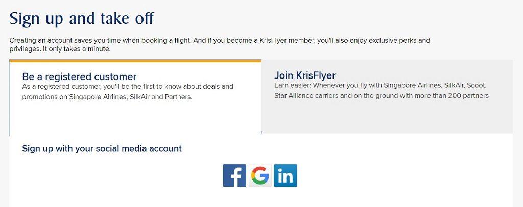 singapore airlines krisflyer register customer