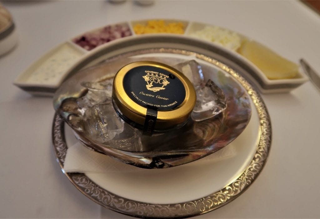 Thai Airways First Class Oscietra Caviar service