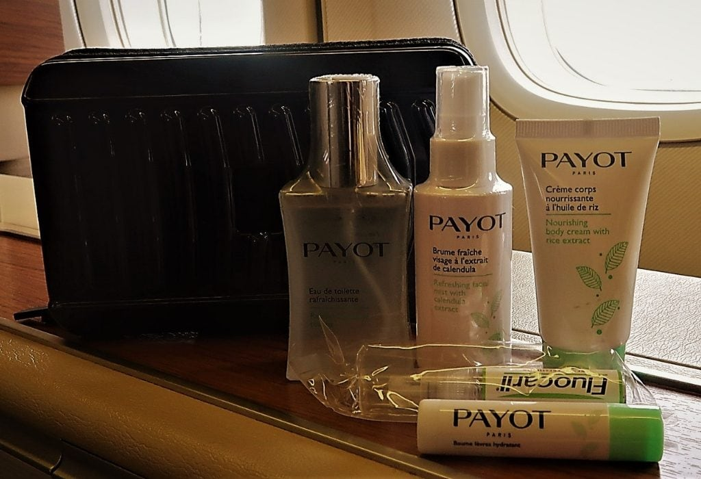Thai Airways first class Porsche and Payot amenity kit