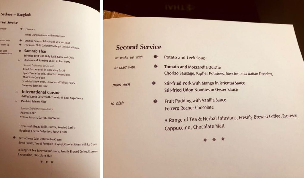 Thai Airways First Class food menu