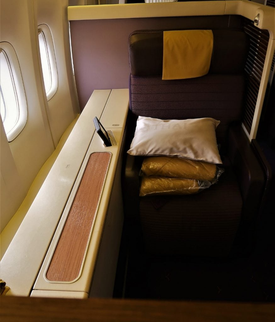 Thai Airways First Class side console