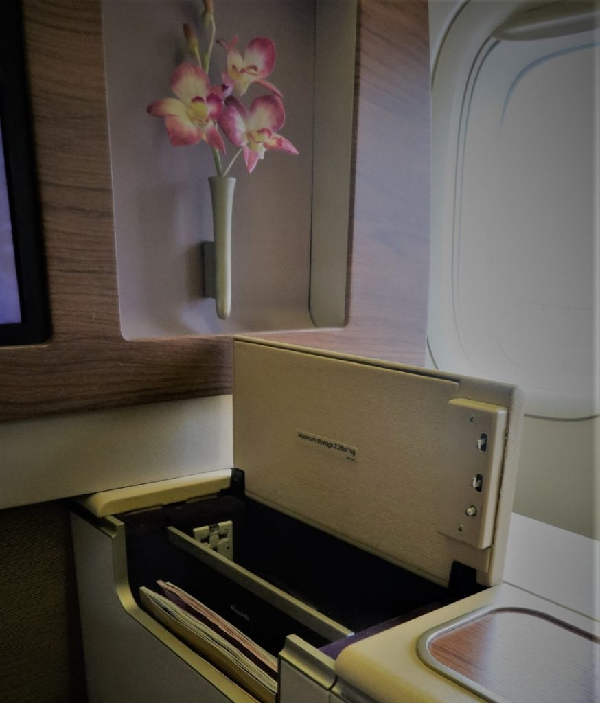 Thai Airways First Class storage pocket