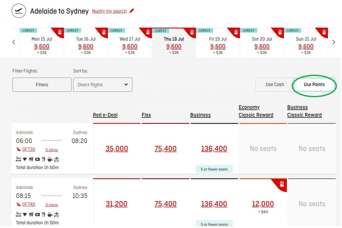 website booking tactics Qantas is using to push Points Plus Pay