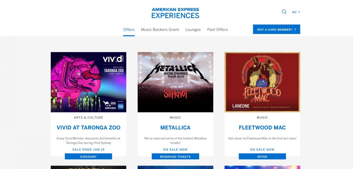 American Express Experiences guide concerts