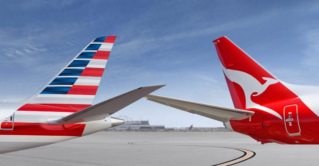 American and Qantas tails
