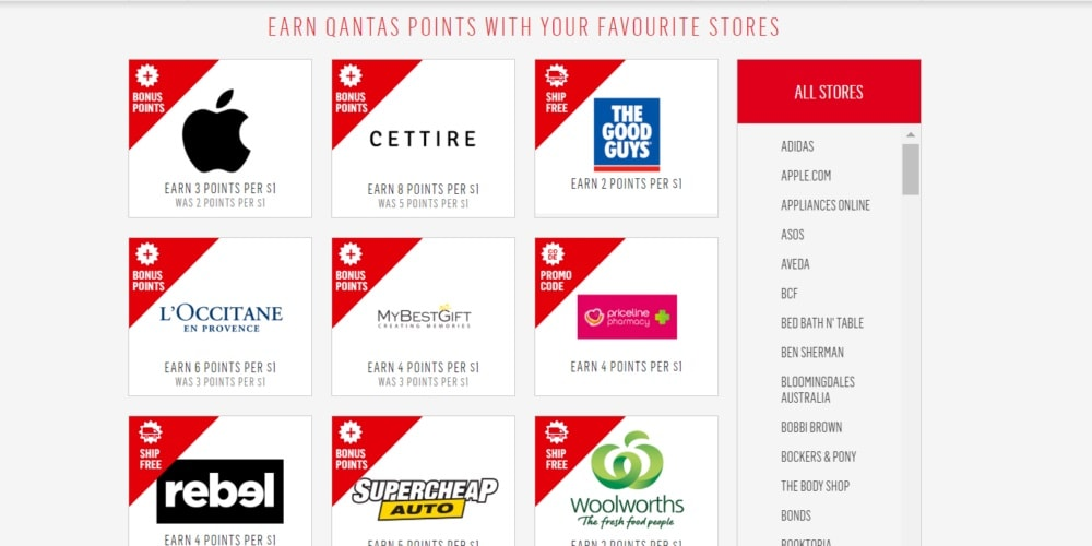 earn qantas points at your favourite stores