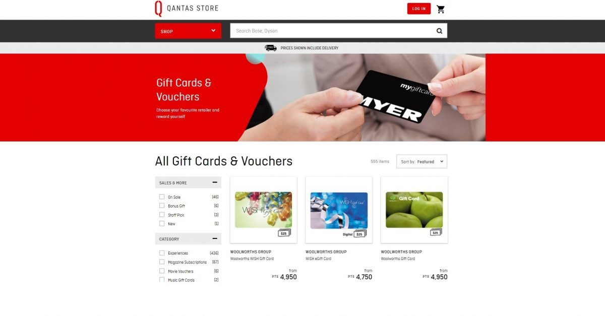 qantas giftcards and vouchers