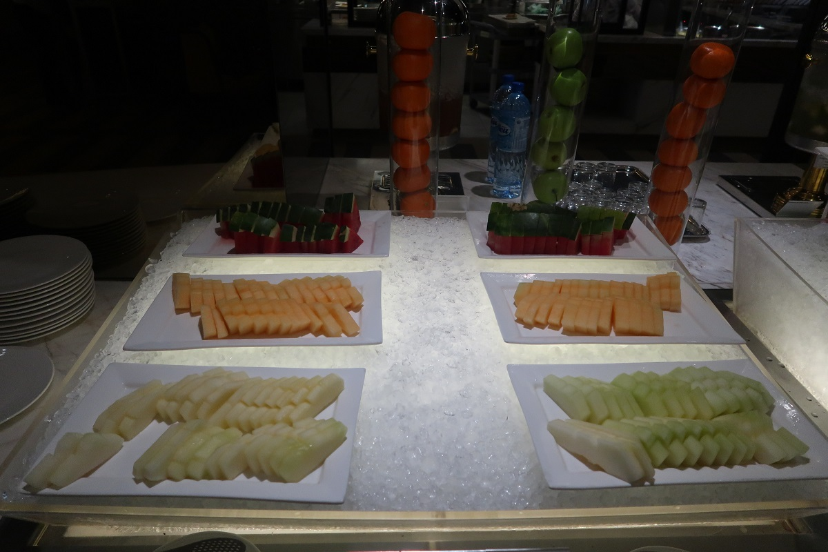 Malaysia Airlines KL Golden Lounge Satellite Terminal food fruit