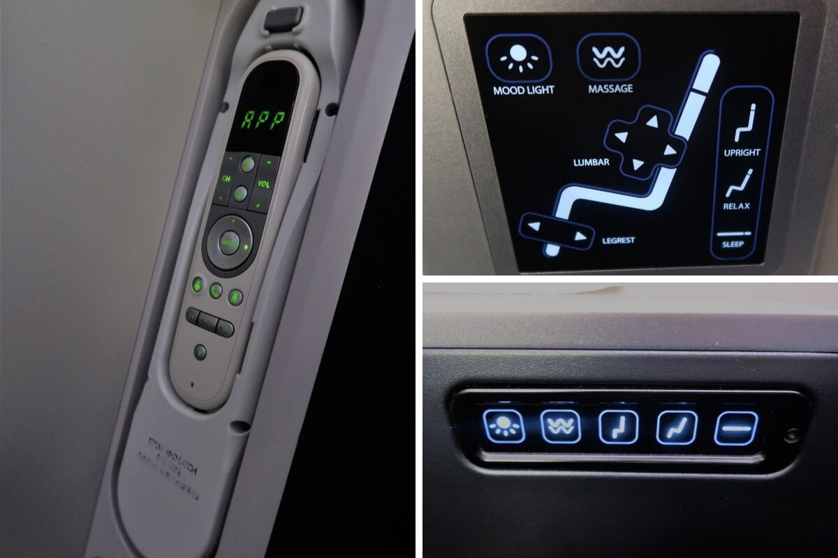 Malaysia Airlines Business Class KUL to ADE pic seat controls montage