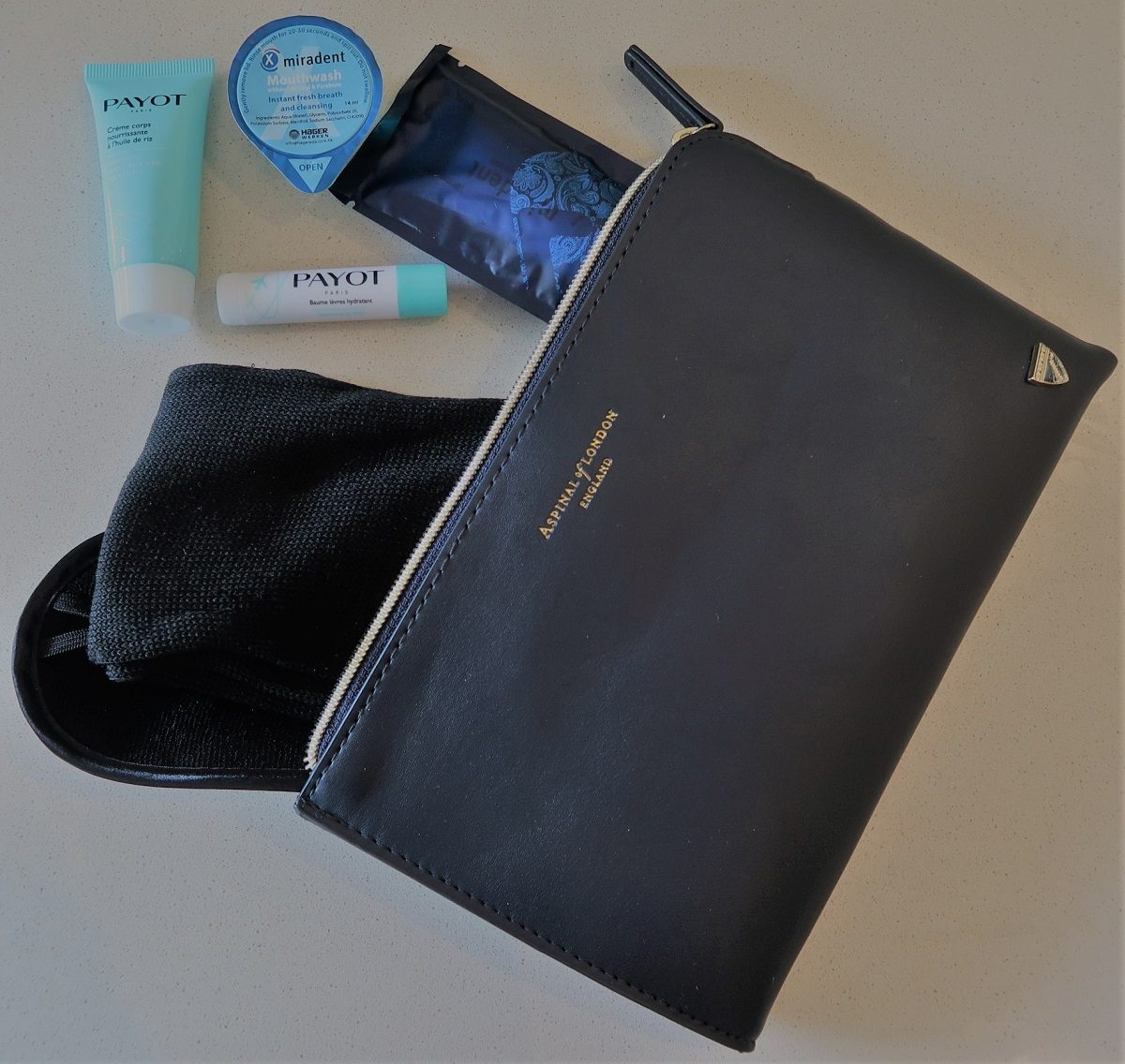 Malaysia Airlines Business Class KUL to ADE pic aspinal toiletries kit