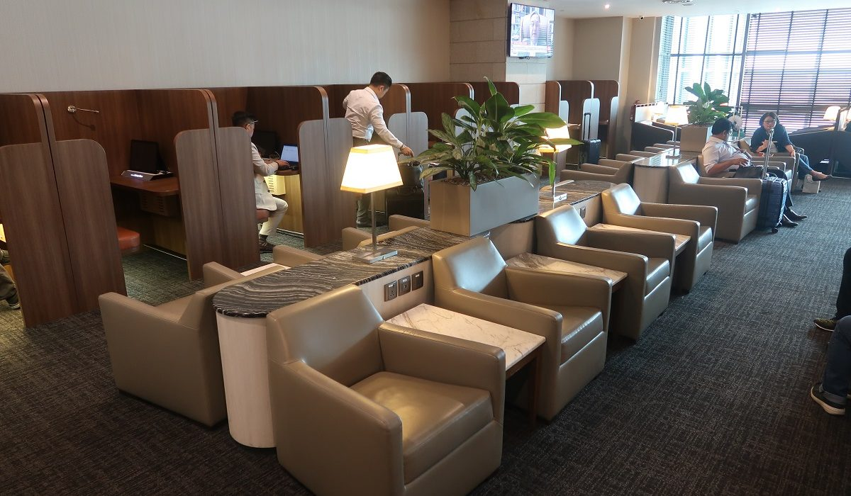 SATS Premier Lounge Terminal 2 Singapore Airport cubicles row
